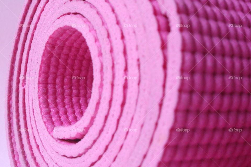 Pink yoga mat.