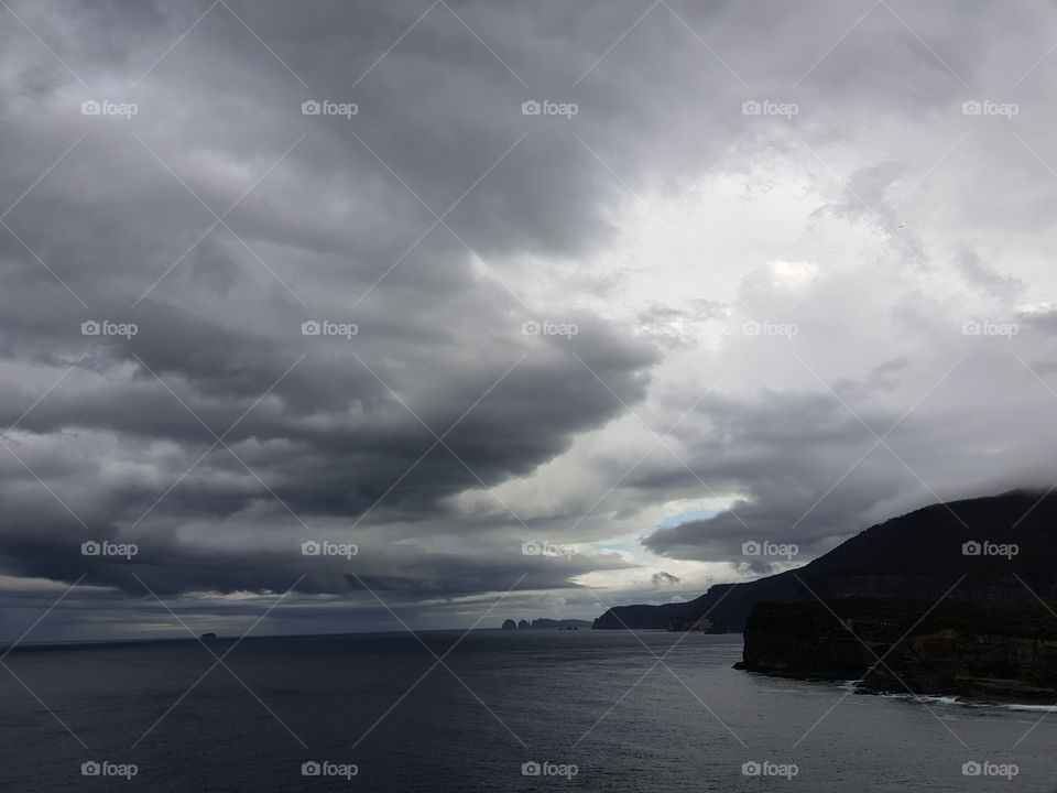 Cloudy sky by the sea