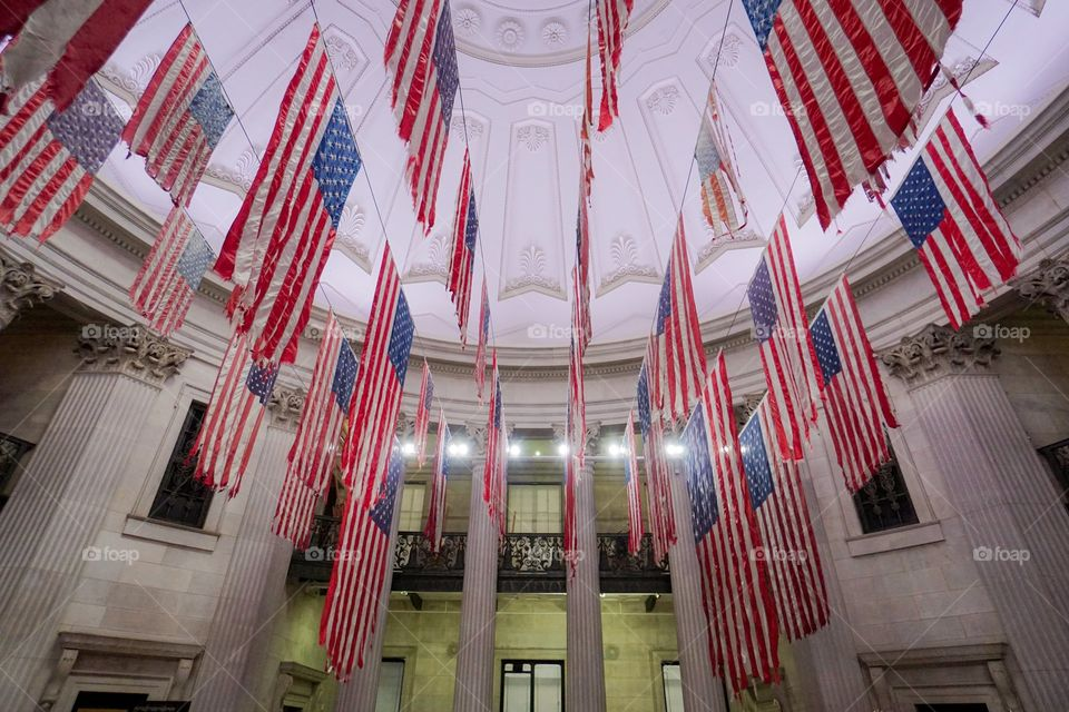 Flags at Federal Hall