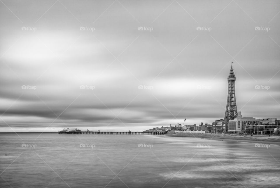 Blackpool tower and the north pier