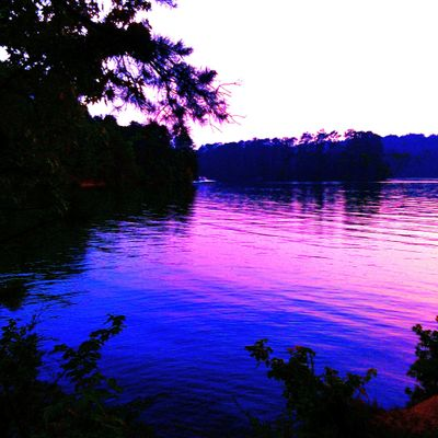 A Purple Tennessee Sky Over Lake At Dusk