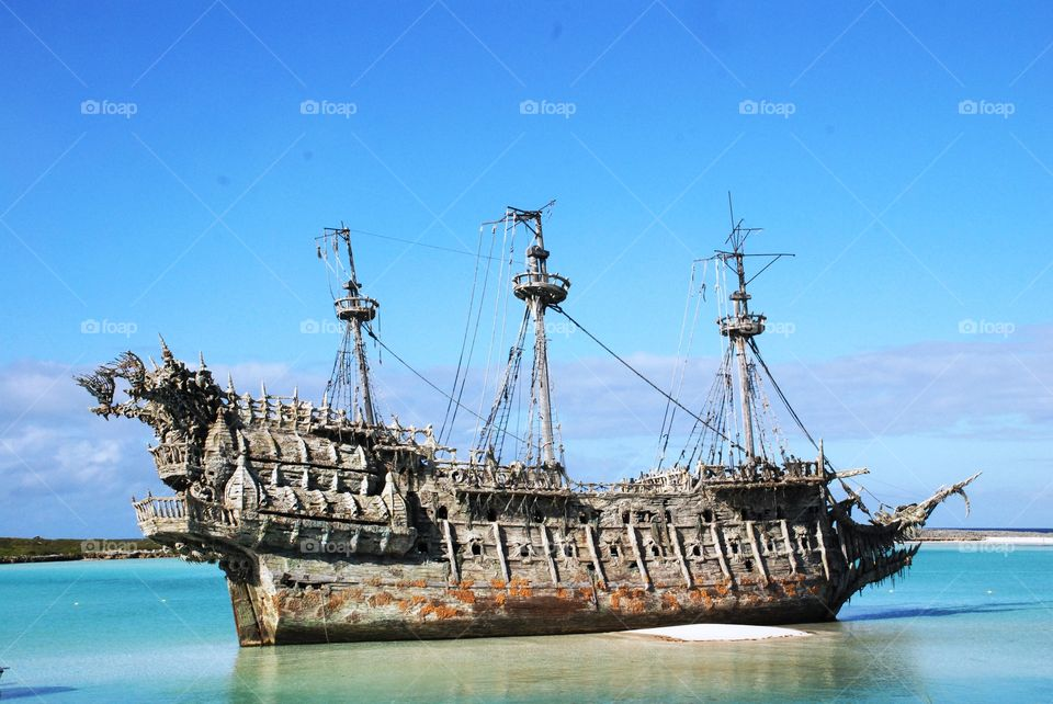 Old rustic ship on coast