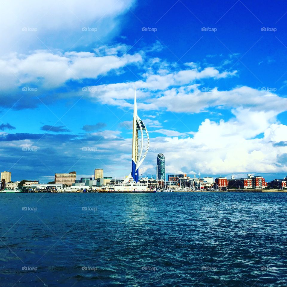 View of Portsmouth and the Emirates Spinnaker Tower.