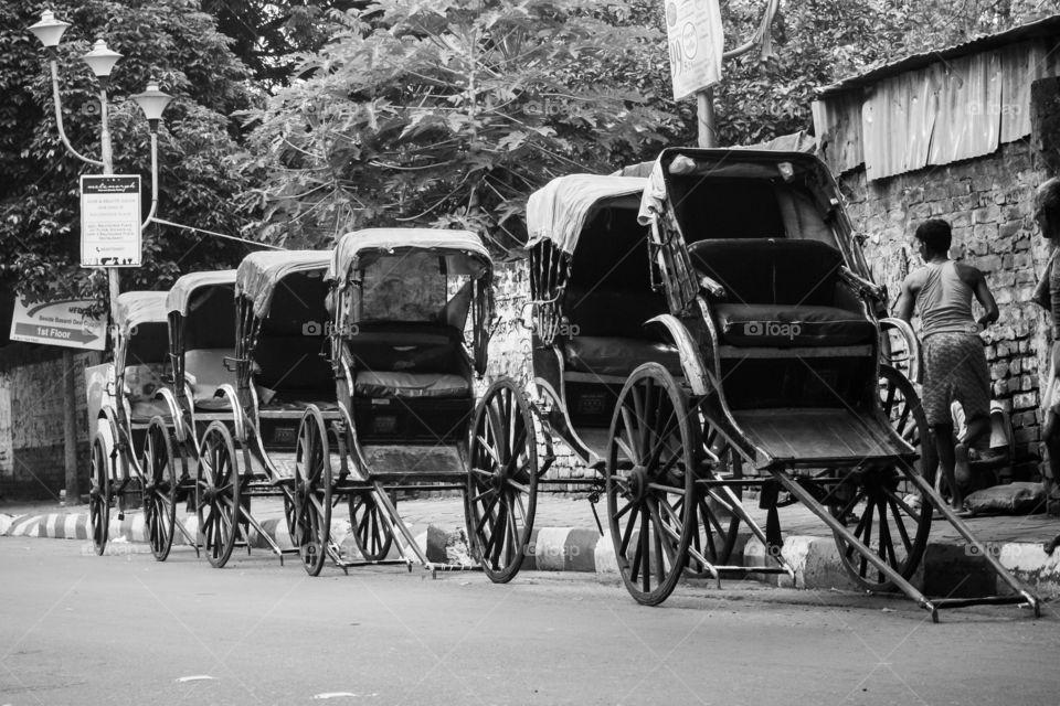 The hand-pulled rickshaw