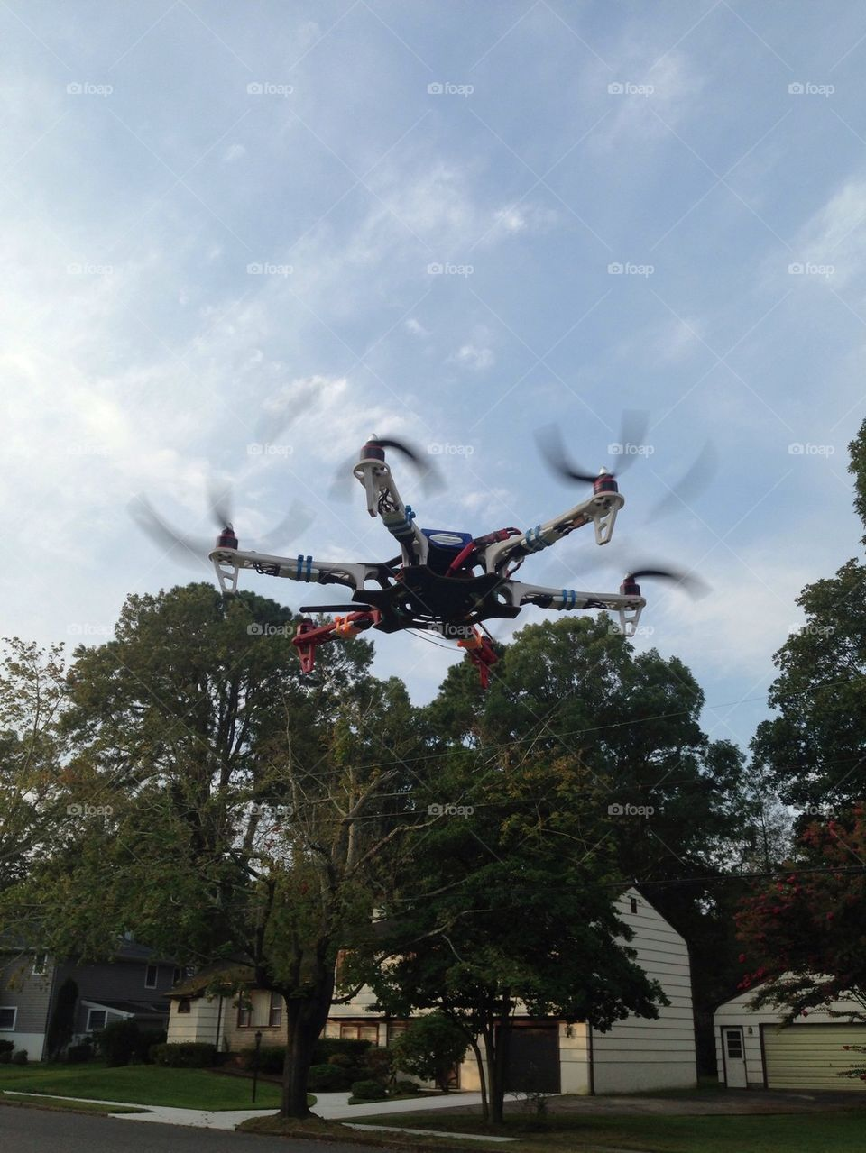 Unmanned aerial vehicle. Hexacopter hovering