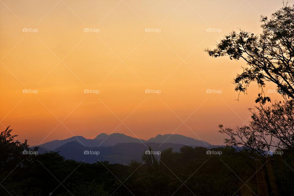 mountain on dusk