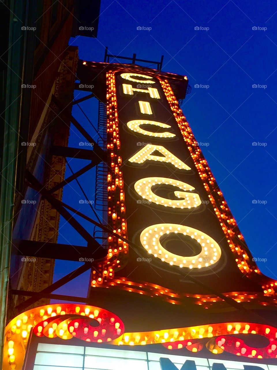 Look up!  Chicago Theater. Chicago, Illinois