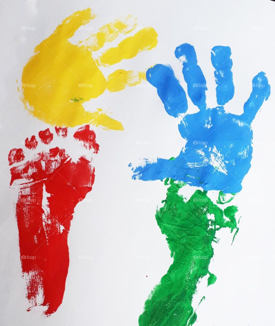 Painted hand and foot prints