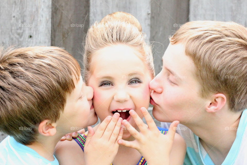 Surprise Girl Getting Kisses