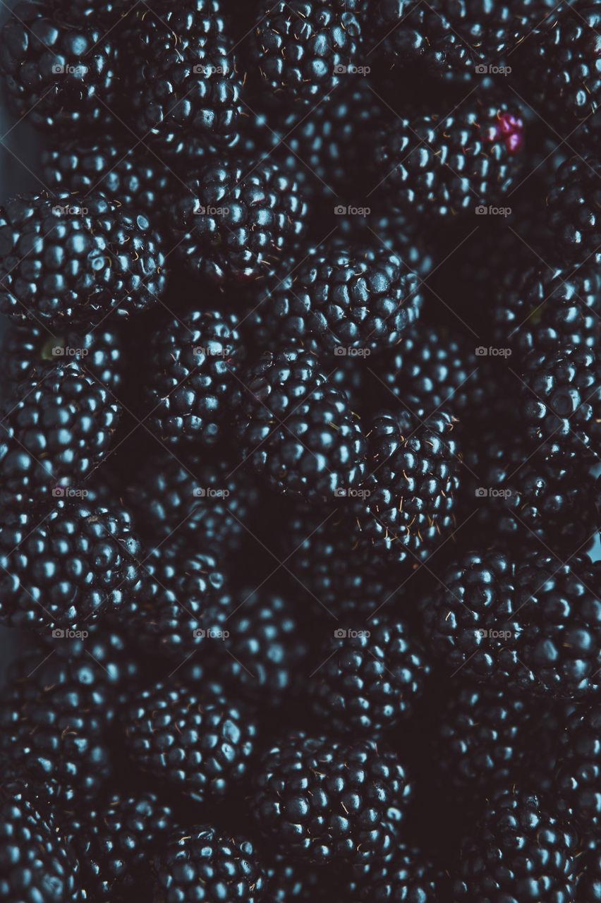 Blackberries closeup microshot