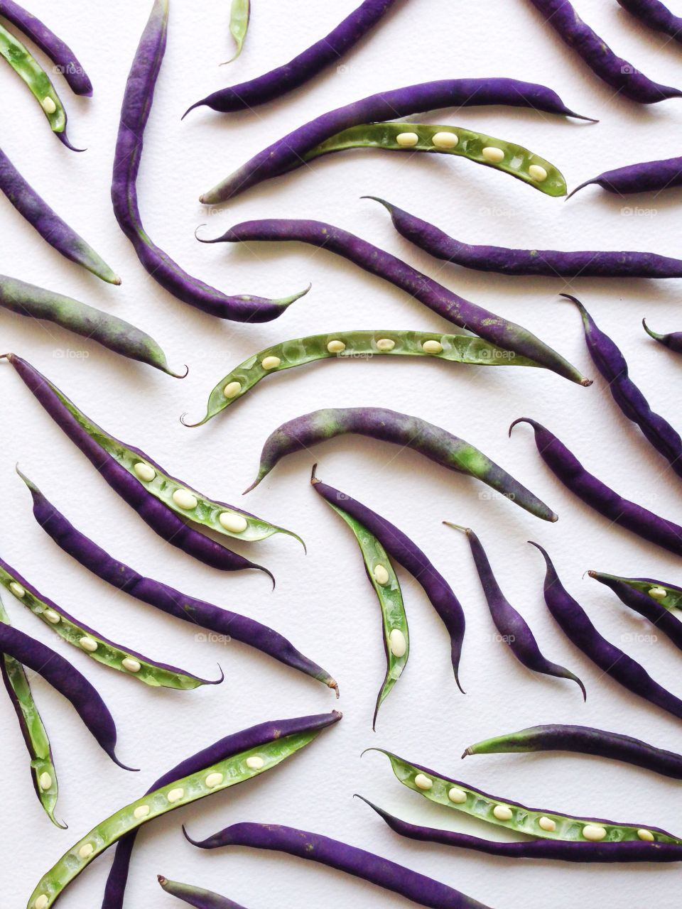 Purple hull peas collage on a white background