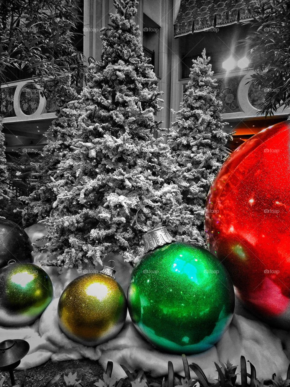 Close-up of christmas tree with bauble