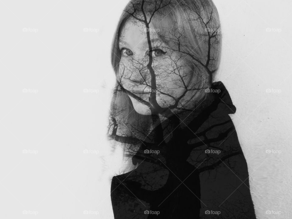 Composite of tree on woman