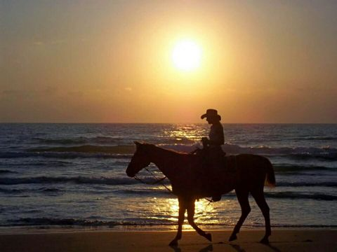 Girl riding a horse on the beach at South Padre Island,  Texas.
