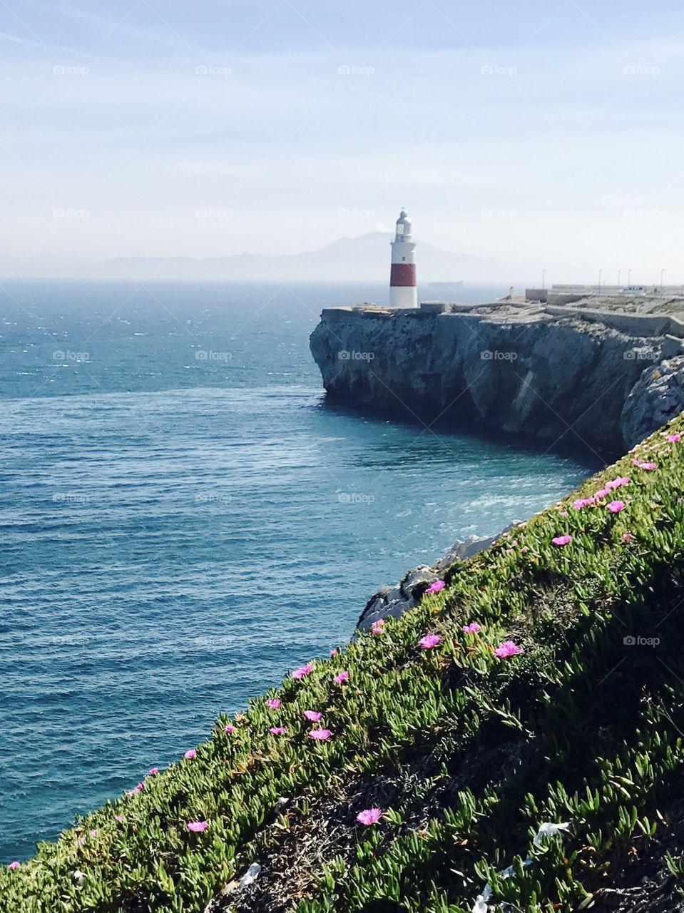 Lighthouse in Gibraltar, travel, Mediterranean Sea