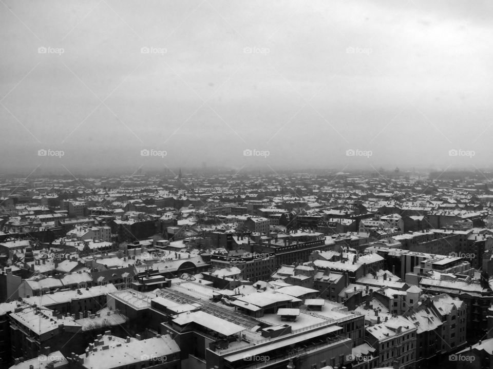 Black and white shot of the cityscape of Riga, Latvia.