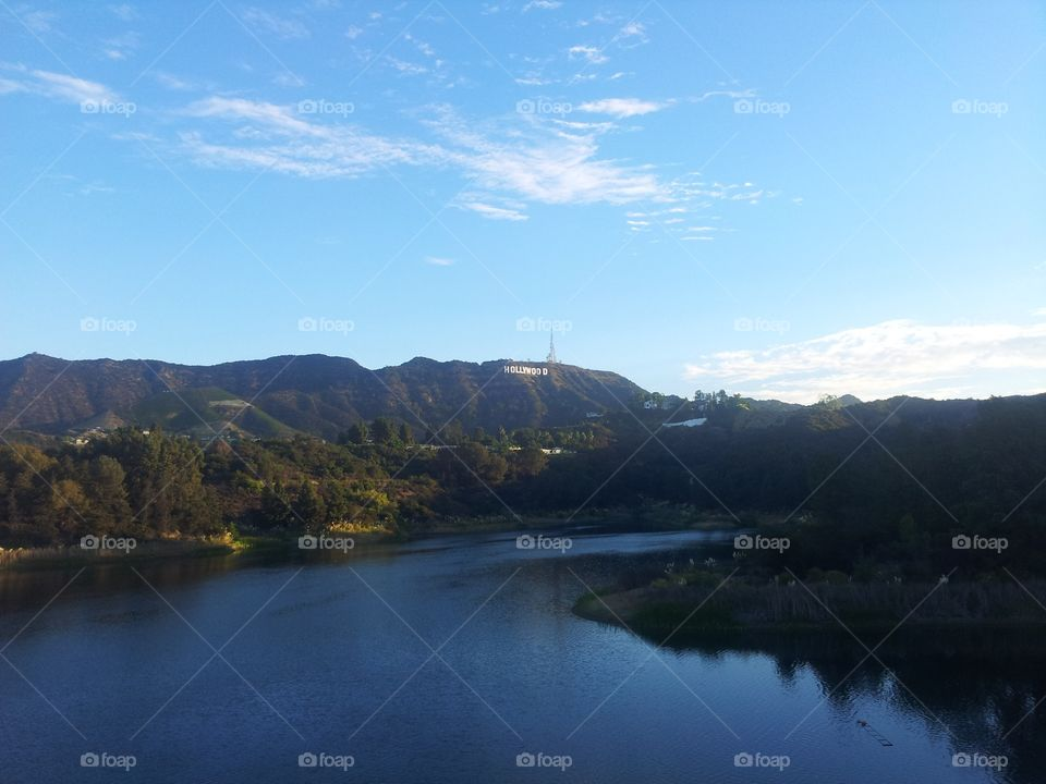 Hollywood sign from Hollywood reservoir