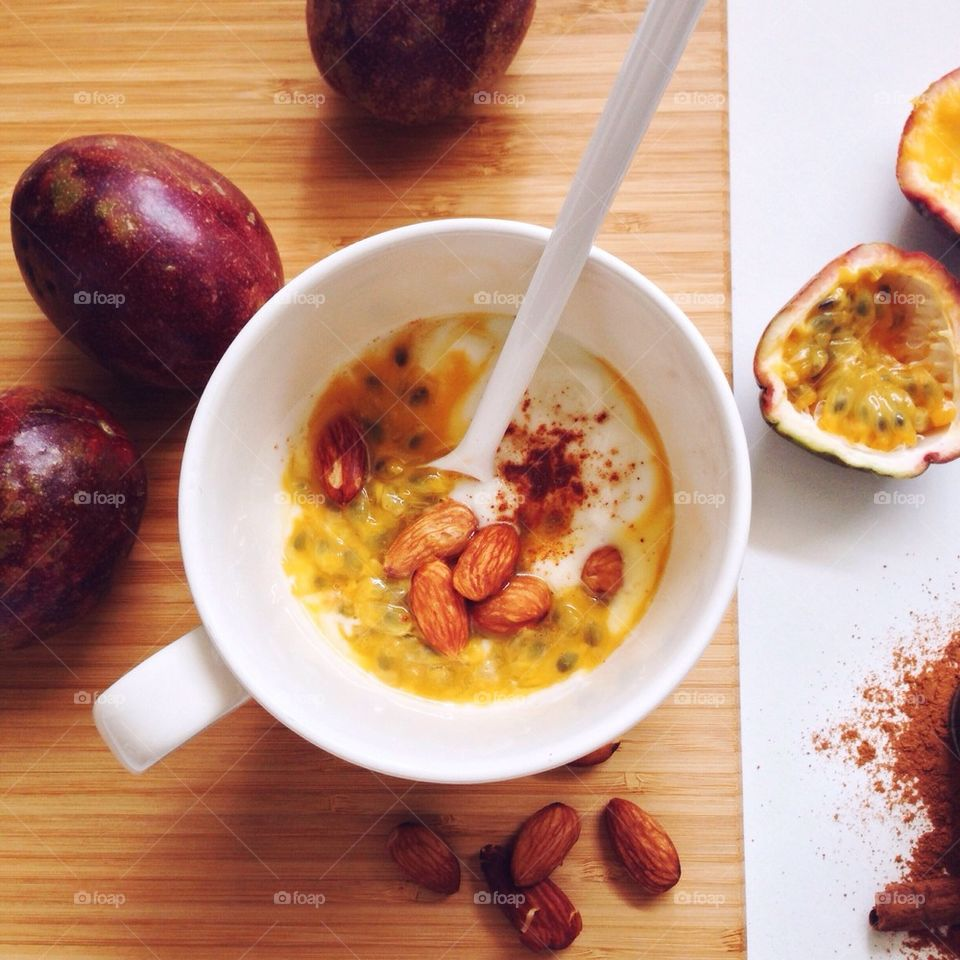 Breakfast with yogurt and passion fruit