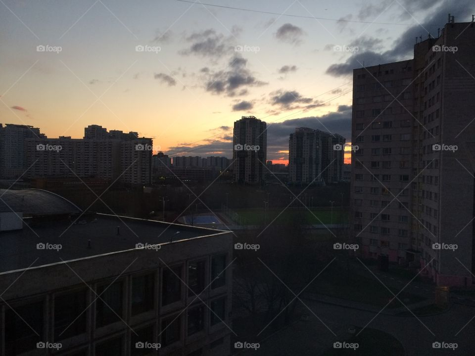 Sunset in Moscow. Urban sunset in Moscow, Russia