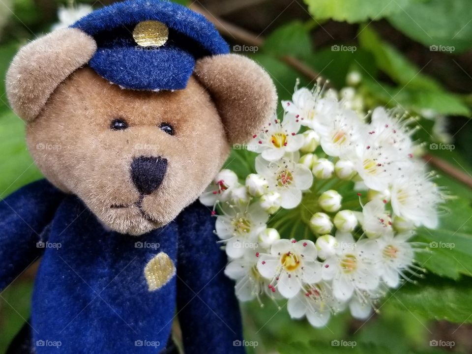 Police Bears Love Flowers, too