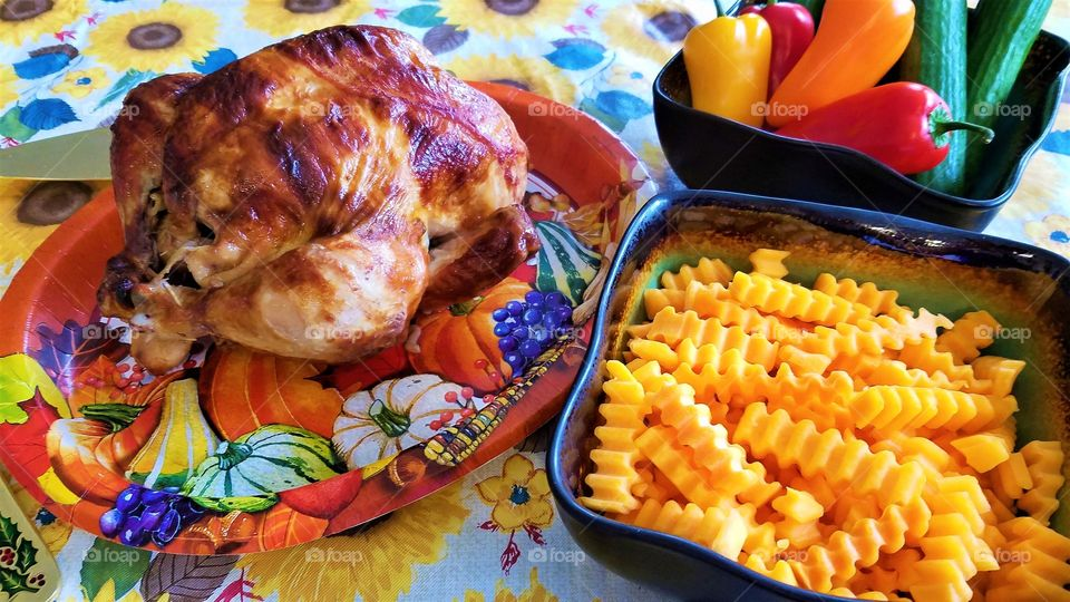 Roasted whole chicken with butternut squash
