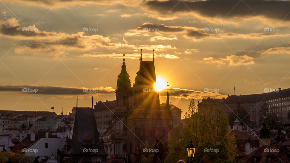 Sunset at Prague city