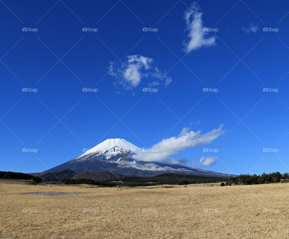 Mount Fuji with snow