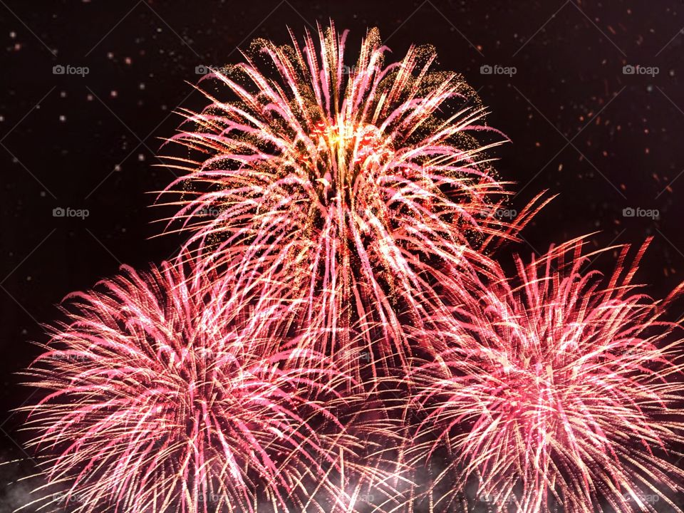 Golden red fireworks exploding into the sky.
