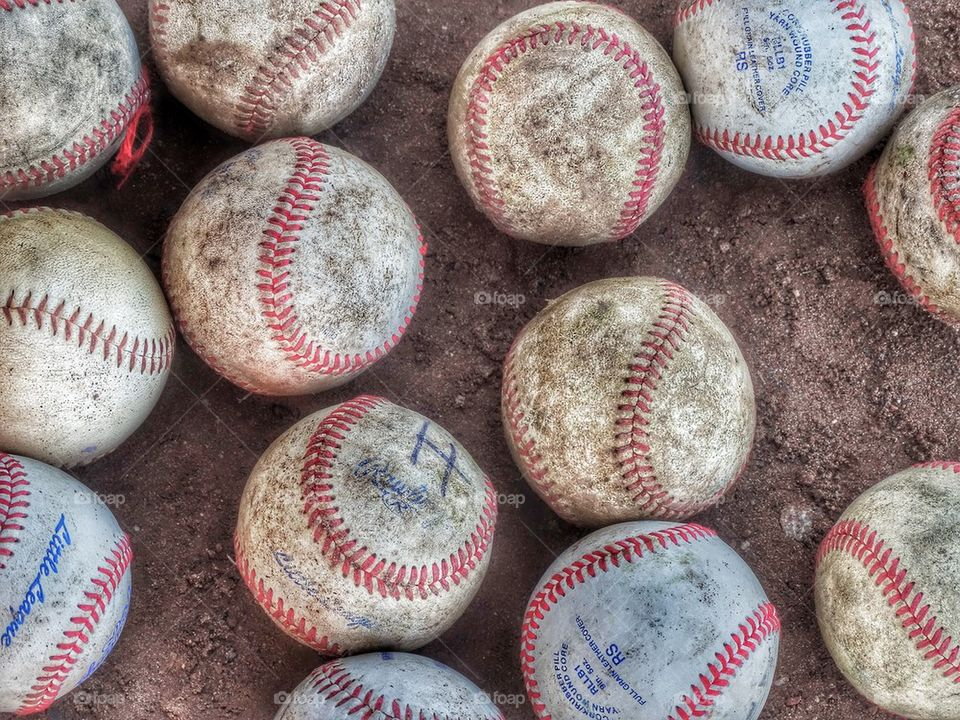 Baseballs Waiting For The Game. Worn And Torn And Loved Collection Of Baseballs