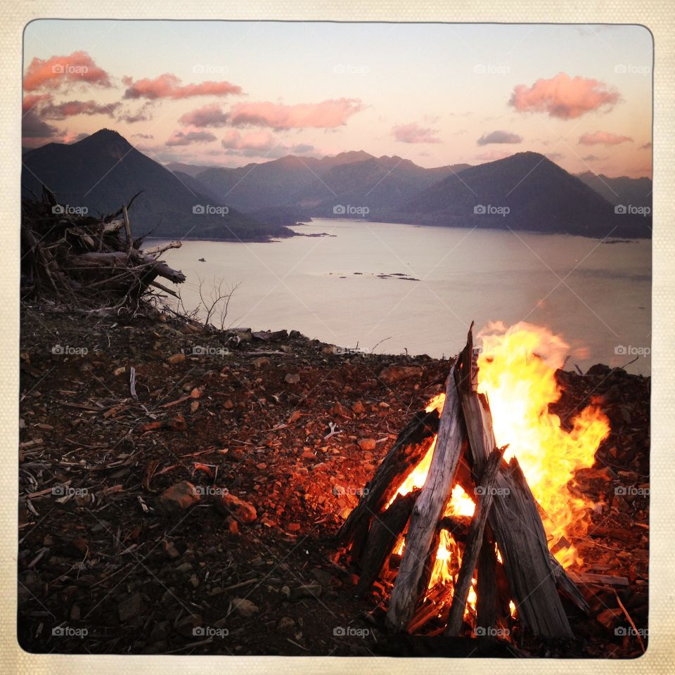 Bonfire and sunset at Side Bay, Vancouver Island.