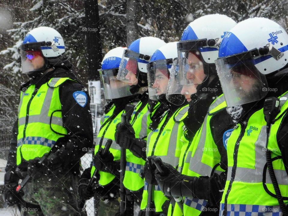 Montreal police in winter